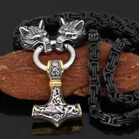 Men's Nordic Viking Fenrir Wolf&Thor Hammer Mjolnir Pendant Necklace Amulet Gift