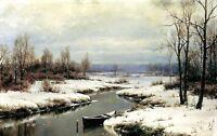 Dream-art Oil painting Welz Ivan - Beginning of winter landscape Hand painted