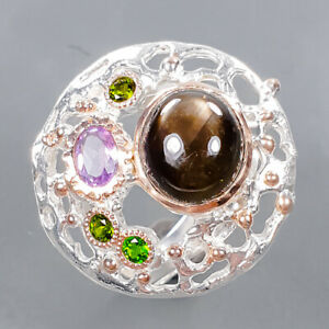 Jewelry Handmade Black Star Sapphire Ring Silver 925 Sterling  Size 8 /R177254