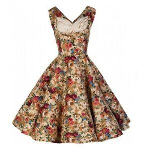 Lindy Bop Ophelia Beige Floral Swing Dress Vintage 50s Pinup Retro Rockabilly 8