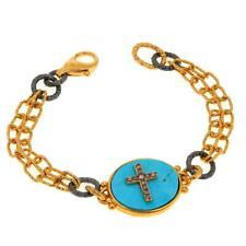 "Rarities Vermeil Kingman Turquoise Cross Motif 2-Tone 6-3/4"" Bracelet Hsn $339"