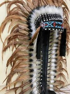 Rose Gold Indian Headdress made with real rooster feathers and white fur