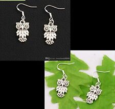 2 x Pairs   of Owl Ear Rings 925 Sterling Silver Hook Tibetan Silver Drop/Dangle