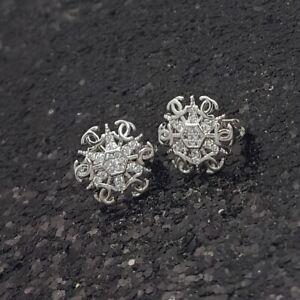18K White Gold Filled Elegant Italian Diamond Snowflakes 18ct GF Earrings 12mm