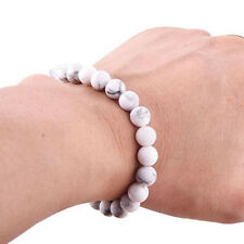 Natural 8mm Gorgeous Howlite Healing Crystal Stretch Beaded Bangle Unisex