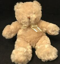 """Carter's Child of Mine Bear Tan Brown Soft 8"""" Plush Yellow Bow 2005 Retired NWOT"""