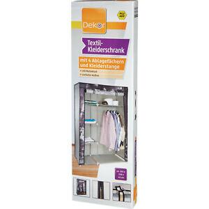 Textil Kleiderschrank Faltschrank mit 4 Regaleinsätzen Garderobe