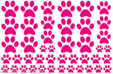 HOT PINK PAW PRINTS VINYL WALL DECAL STICKER-3 sheets total 66 pieces DOG CAT
