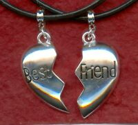 Best Friends Necklaces 2 Leather necklaces New BFF Bestie heart share friendship