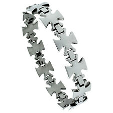 "8.5"" Stainless Steel Maltese Cross Bracelet"
