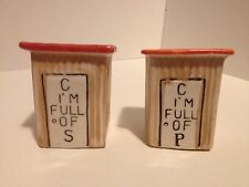 VINTAGE OUTHOUSE C I'M FULL OF S AND P SALT & PEPPER SHAKERS MADE IN JAPAN