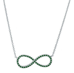 0.17ct. Green Diamond Infinity Pendant Necklace With Chain