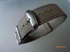 Canvas Strap Leinen Uhrband 20 mm khaki Edelstahl Dornschließe Nato Zulu Textil