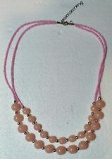 """FAsHION NECKLACE, PINK, SILVER PLASTIC BEADS, DOUBLE STRAND 20 / 22"""" HANDCRAFTED"""