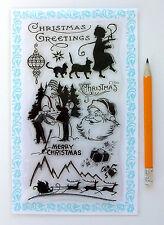 "Clear Stamps Lot (4""x7"") Christmas Snow Santa FLONZ Vintage 279 Rubber Acrylic"