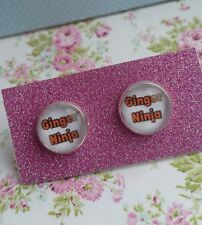 Are you a GINGER NINJA? Text Words Silver Plated Earrings Red Head Fun Fashion