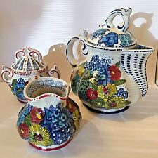 Anthropologie Tea Service Set * Teapot Creamer & Sugar Bowl in Blue Ivory Floral
