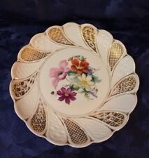 Antique Meissen Plate Floral Bouquet Scalloped Teardrop Edge Latice Design