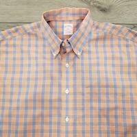 Brooks Brothers 346 Men's Shirt Size XL Check Plaid Blue Orange