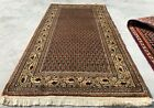 Authentic Hand Knotted Vintage Indo Mir Badami Wool Area Rug 4 x 2 Ft