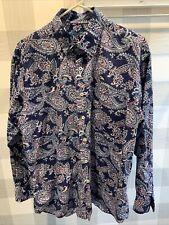 Alan Flusser Size Large Blue Pink White Paisley Button Down Shirt