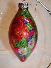 "Large 5"" Teardrop Floral glass ornament"