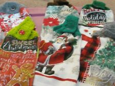 6 NEW HAND CROCHET TOP KITCHEN TOWELS CHRISTMAS GNOME,GINGERBREAD,SANTA,SNOWMAN