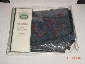 Martha Stewart King Pillow Sham Set of 1 BALMORAL PAISLEY/PURPLE/BLUE