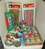 Lot Vtg Christmas Honeycomb Ornaments Garland Bottle Brush Tree Light Reflectors