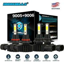 9005 9006 Combo CREE LED Headlight Fog Kits Bulb 6000K White High Low Beam 4400W