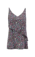 New Cabi Floral Scrollwork Cami Blouse Top Large 3453 Purple Turquoise Black