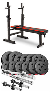 Pro Set 45 kg Weights and Bodybuilding Bars with a Folding Bench. Gym at Home!