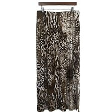 CHICOS -Womens Size 1 Brown Stretch Pull On Animal Leopard Print Long Maxi Skirt