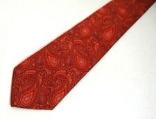 "Mens Necktie Tie Red Orange Paisley Silk 59"" Italy"
