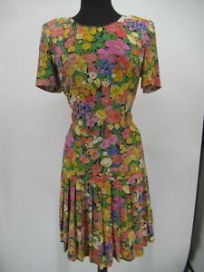 L4927 VTG A Pea in the Pod Women's 90's Floral Print Maternity Dress USA Size S