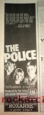 Sting / POLICE Roxanne 1979 UK Press ADVERT 16x4 inches