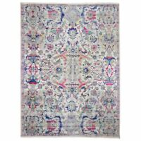 """9'x12'1"""" Oushak Influenced Sari Silk and Textured Wool Hand Knotted Rug R59365"""