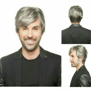 Short Wavy Wigs For Men Handsome Male Wig synthetic Heat resistant Gray Hair Wig