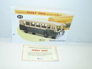 1 Sheet + Certif. Dinky Toys Atlas Repro Ref 29 D, Bus Parisien