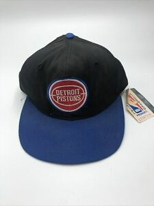 VTG AJD 90s NBA Detroit Pistons Black Blue Snapback Men Hat Cap New with Tags