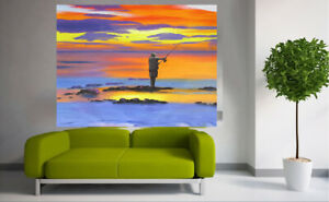 Painting Fishing Fisherman Art signed sunset Bush canvas Australia ocean