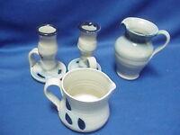 Vintage Hand Carved Salt Glaze Cobalt Blue Williamsburg Pottery 4 pieces