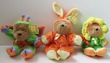 3 Easter Bears Dressed as Butterfly, Bunny, Flower Treatcetera Vintage 1998 New