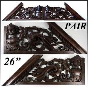 """Antique Victorian Carved 26.5"""" Furniture, Architectural Crown PAIR, 53"""" Figural"""