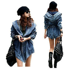 US Lady Casual Drawstring Denim Hoody Trench Coat Jeans Jacket Outwear One Size