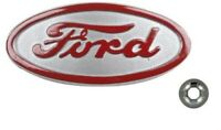 8N Ford Front Hood Nose Emblem Medallion Badge Aluminium Style with Speed Nut