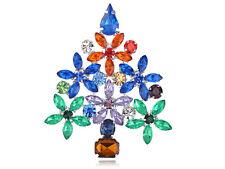 Merry Christmas Stylish Rhinestone Daisy Flower Pine Tree Pin Brooch Jewelry