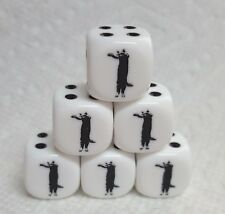 Dice - Set of 6 - 16mm Opaque White w/Black Long Cat meme as #1 - 20% Discount!