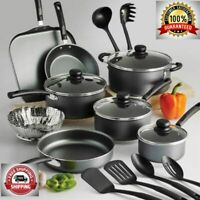 18 Piece Non-Stick Cookware Set Dishwasher-Safe Cooking Pots Pans Steel Gray New