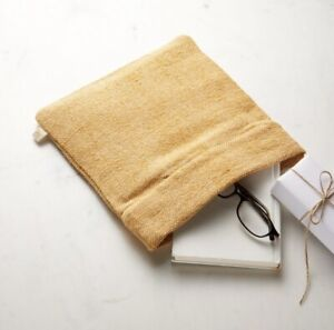 Crate & Barrel Yellow Cotton and Jute Zip Pouch